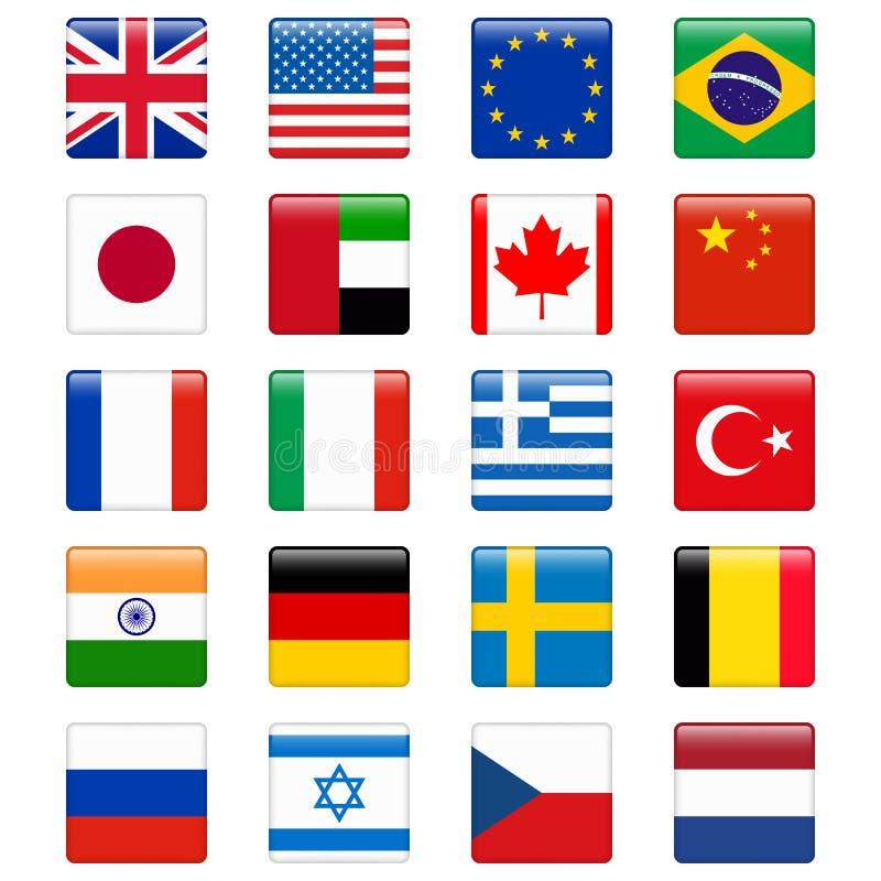 Σύνολο δημοφιλών σημαιών χωρών Στιλπνό τετραγωνικό διανυσματικό σύνολο εικονιδίων διανυσματική απεικόνιση