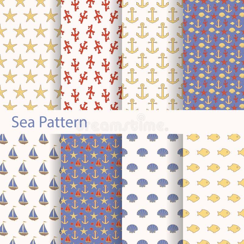 Σύνολο θάλασσας και ναυτικών άνευ ραφής σχεδίων για την εκτύπωση επάνω στο ύφασμα και το έγγραφο απεικόνιση αποθεμάτων