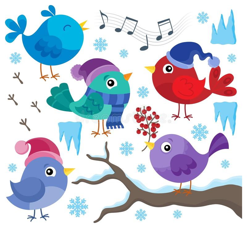 Σύνολο 1 θέματος χειμερινών πουλιών ελεύθερη απεικόνιση δικαιώματος