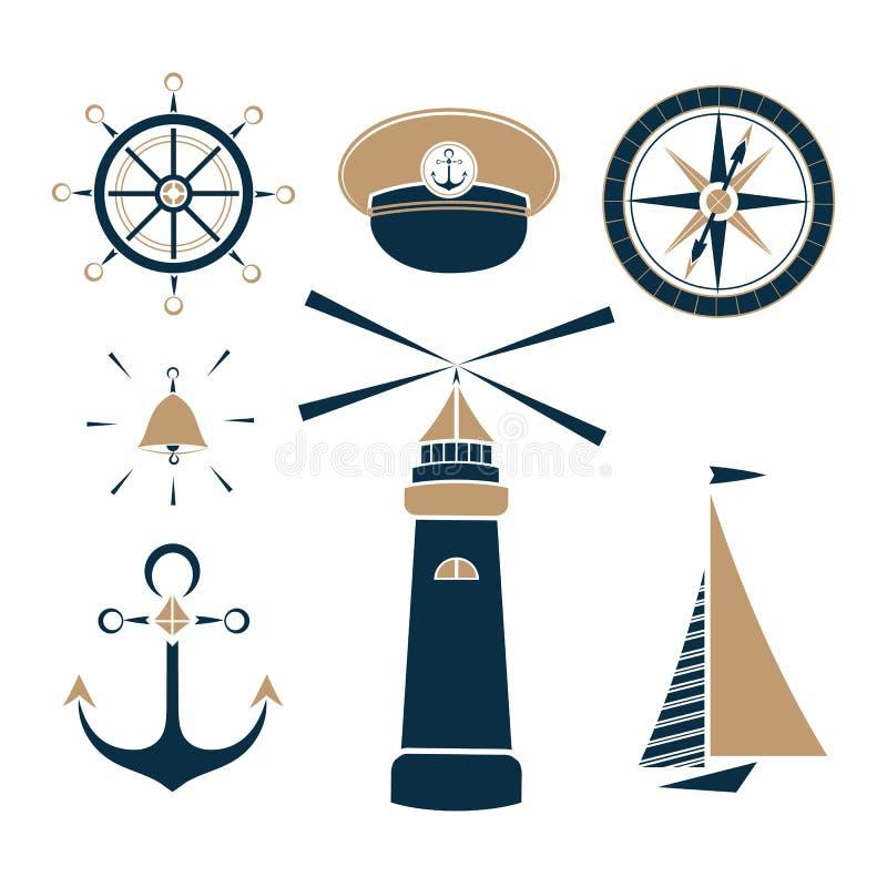 Σύνολο θαλασσίων αντικειμένων ελεύθερη απεικόνιση δικαιώματος