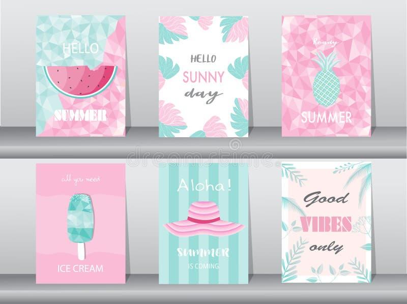 Σύνολο θερινής κάρτας στο σχέδιο σχεδίων, αφίσα, πρότυπο, χαιρετισμός, κάρτες, φρούτα, πολύγωνο, διανυσματικές απεικονίσεις απεικόνιση αποθεμάτων