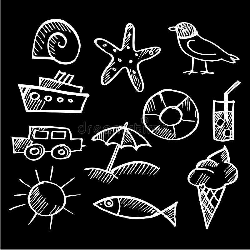 Σύνολο θερινής κιμωλίας doodles, σκίτσα ελεύθερη απεικόνιση δικαιώματος