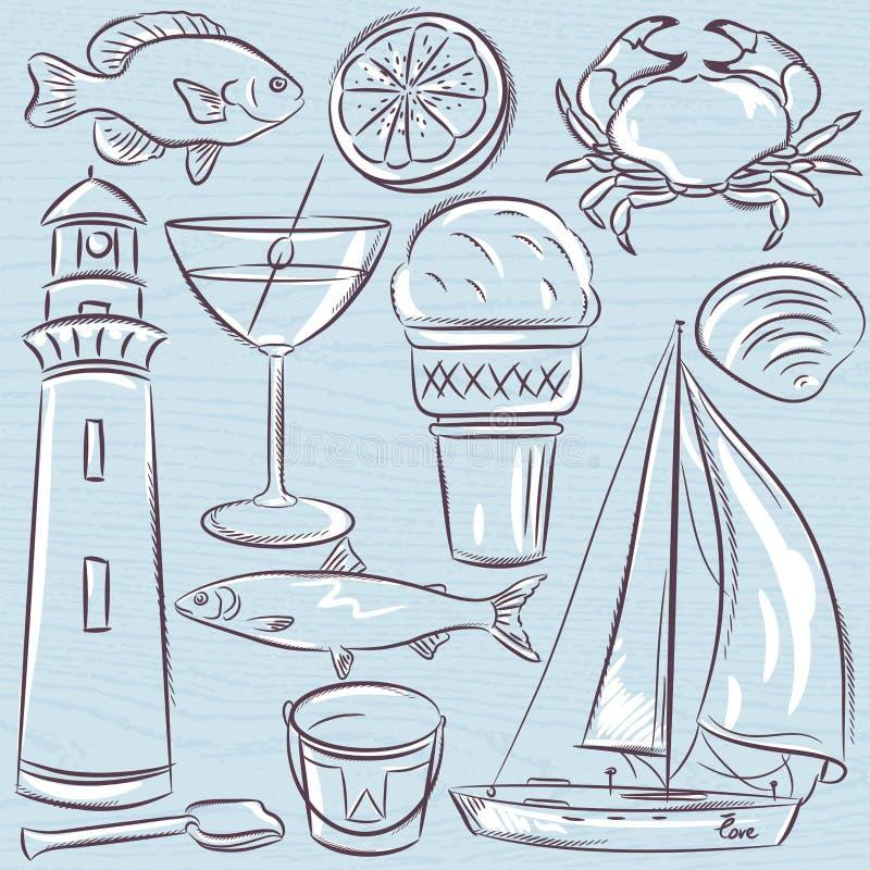 Σύνολο θερινών συμβόλων, κοχύλια, καβούρι, βάρκα, κοκτέιλ, φάρος διανυσματική απεικόνιση