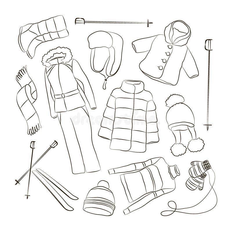 Σύνολο θερμού σχεδίου χειμερινών ενδυμάτων ελεύθερη απεικόνιση δικαιώματος