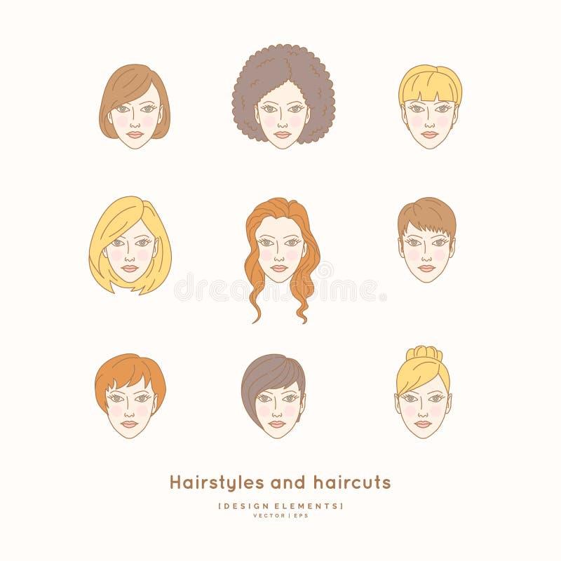 Σύνολο θηλυκών προσώπων με τα διαφορετικά hairstyles απεικόνιση αποθεμάτων
