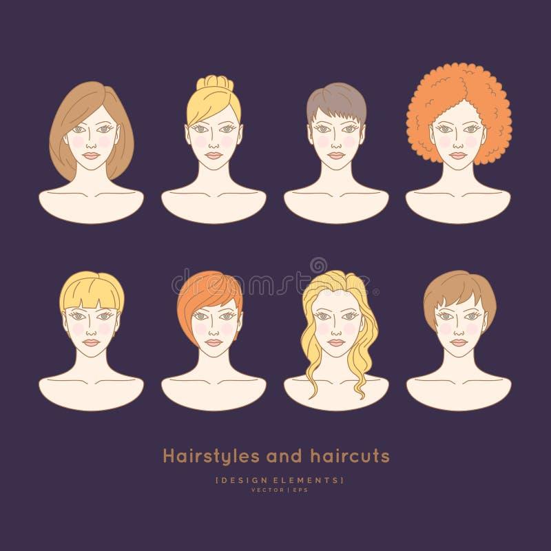 Σύνολο θηλυκών προσώπων με τα διαφορετικά hairstyles διανυσματική απεικόνιση