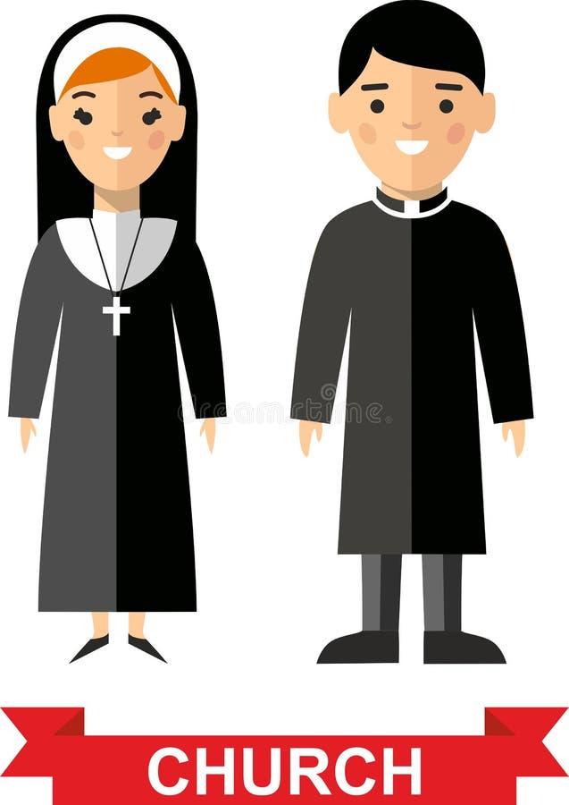 Σύνολο θρησκευτικοί άνθρωποι, ιερέας και καλόγρια απεικόνιση αποθεμάτων