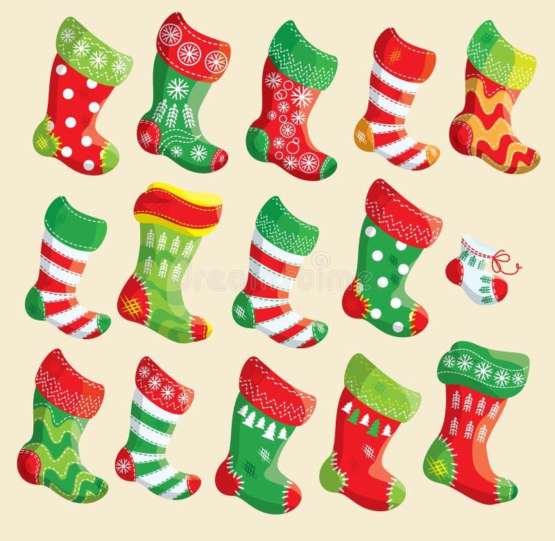 Σύνολο διάφορων γυναικείων καλτσών Χριστουγέννων. Στοιχεία για τα Χριστούγεννα και το νέο Υ ελεύθερη απεικόνιση δικαιώματος