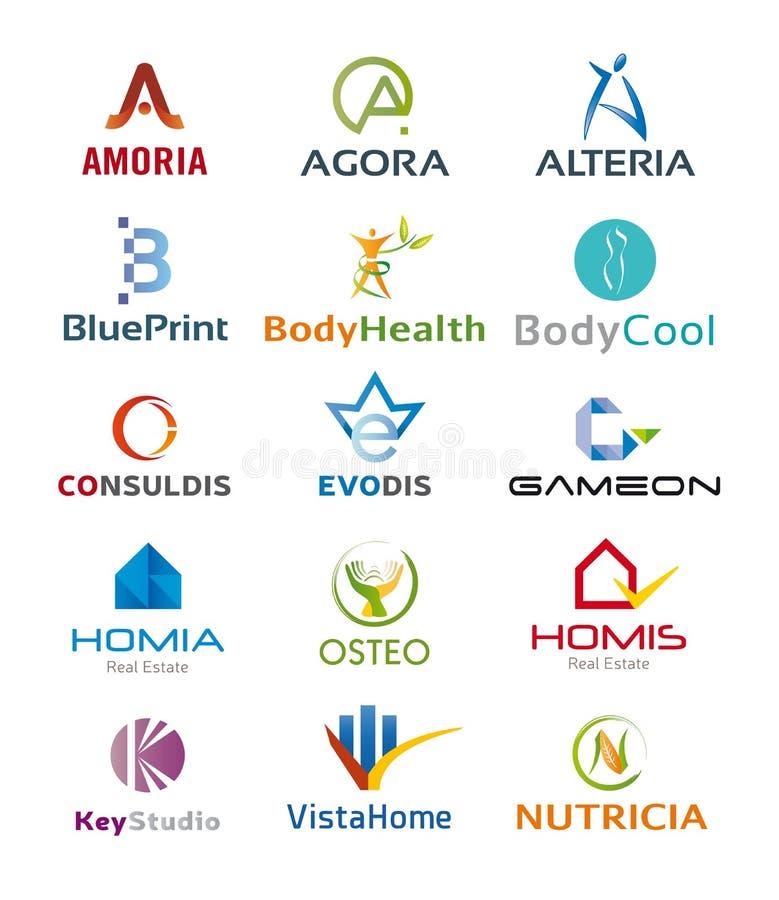 Σύνολο διάφορων εικονιδίων και σχεδίων λογότυπων - πολλαπλάσια χρώματα και στοιχεία απεικόνιση αποθεμάτων