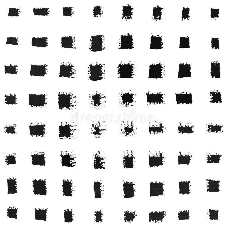 Σύνολο διάφορων μαύρων κτυπημάτων βουρτσών χρωμάτων χεριών μελανιού διανυσματική απεικόνιση