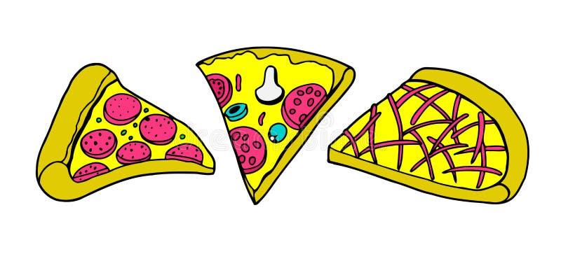 Σύνολο διάφορων τύπων πιτσών απεικόνιση αποθεμάτων