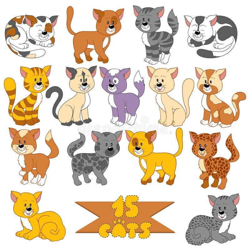 Σύνολο διάφορων χαριτωμένων γατών διανυσματική απεικόνιση