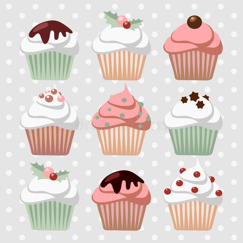 Σύνολο διάφορων Χριστουγέννων cupcakes, muffins, διανυσματική απεικόνιση