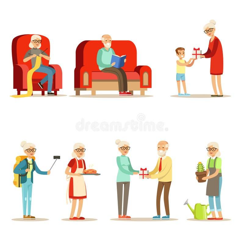 Σύνολο διαβίωσης ηλικιωμένου ανθρώπου ζωντανό και απόλαυση των χόμπι και του συνόλου ελεύθερου χρόνου χαμογελώντας ηλικιωμένων χα απεικόνιση αποθεμάτων