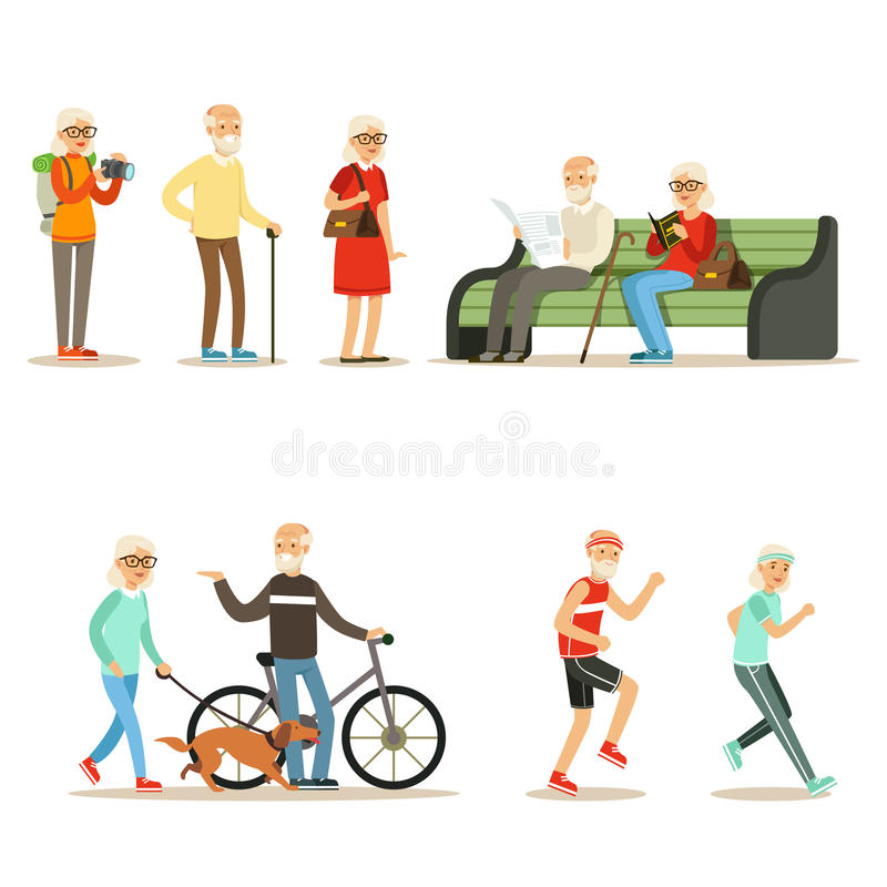 Σύνολο διαβίωσης ηλικιωμένου ανθρώπου ζωντανό και απόλαυση των χόμπι και της συλλογής ελεύθερου χρόνου χαμογελώντας ηλικιωμένων χ απεικόνιση αποθεμάτων