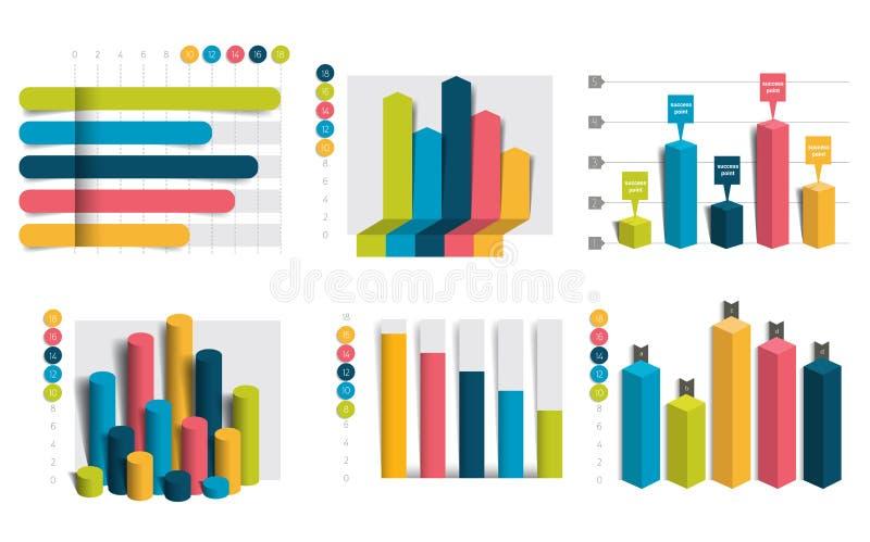 Σύνολο διαγραμμάτων, γραφικές παραστάσεις Απλά χρώμα editable ελεύθερη απεικόνιση δικαιώματος