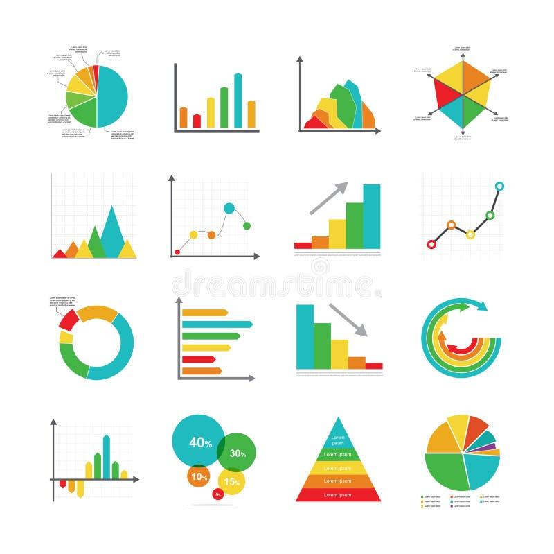 Σύνολο διαγραμμάτων και γραφικών παραστάσεων διαγραμμάτων πιτών φραγμών σημείων επιχειρησιακού μάρκετινγκ ελεύθερη απεικόνιση δικαιώματος