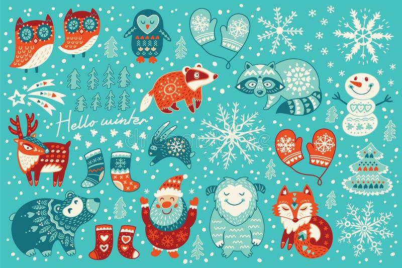 Σύνολο διακοπών χαρακτήρων Χριστουγέννων στο ύφος κινούμενων σχεδίων ελεύθερη απεικόνιση δικαιώματος
