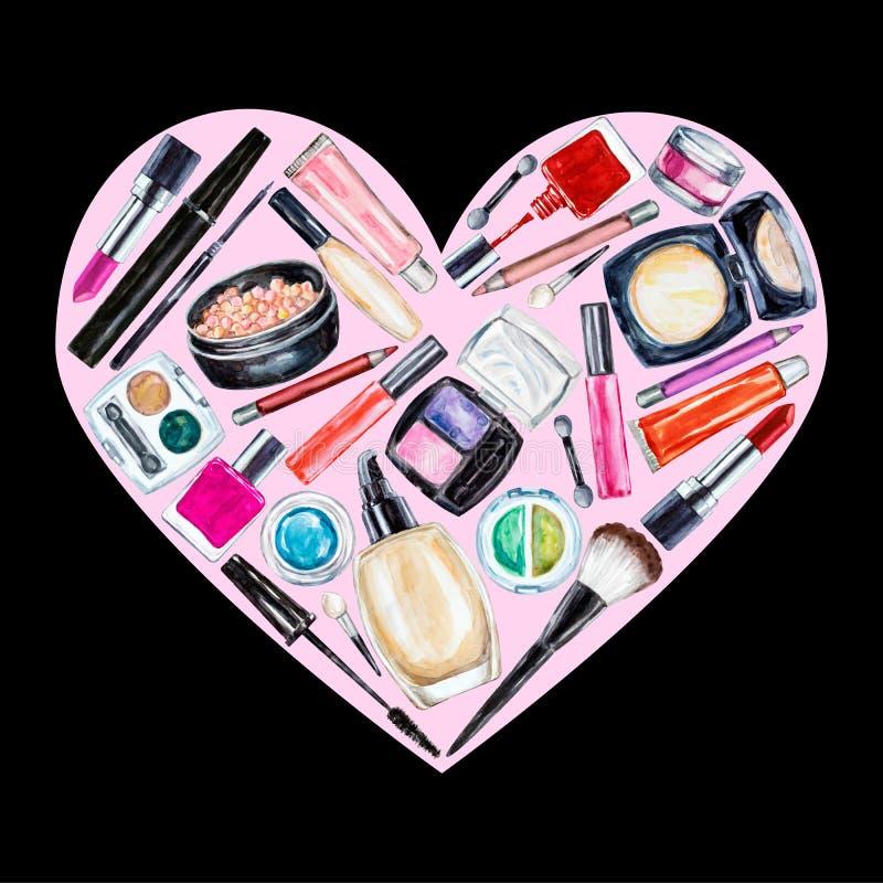 Σύνολο διακοσμητικού καλλυντικού διάφορου watercolor Προϊόντα Makeup απεικόνιση αποθεμάτων