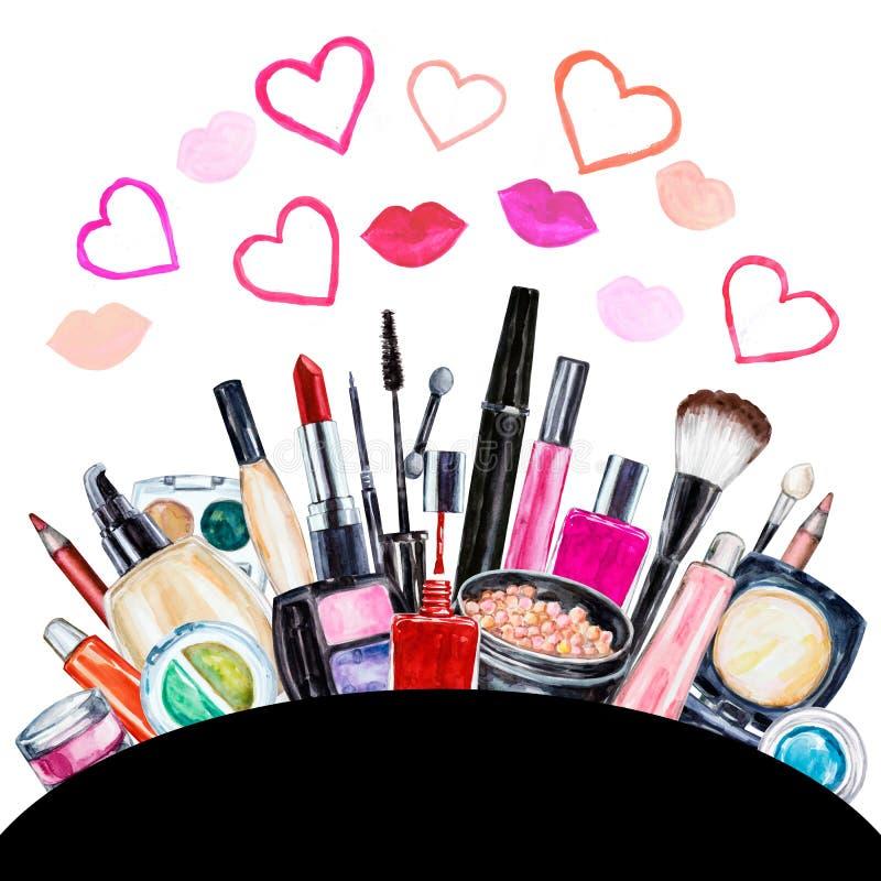 Σύνολο διακοσμητικού καλλυντικού διάφορου watercolor Προϊόντα Makeup διανυσματική απεικόνιση