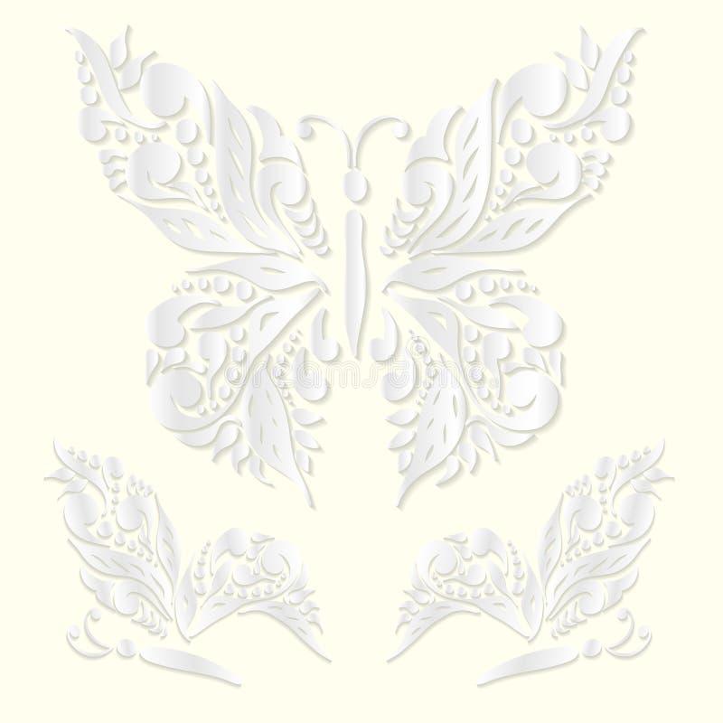 Σύνολο διακοσμητικών άσπρων πεταλούδων που κόβεται από το έγγραφο επίσης corel σύρετε το διάνυσμα απεικόνισης απεικόνιση αποθεμάτων