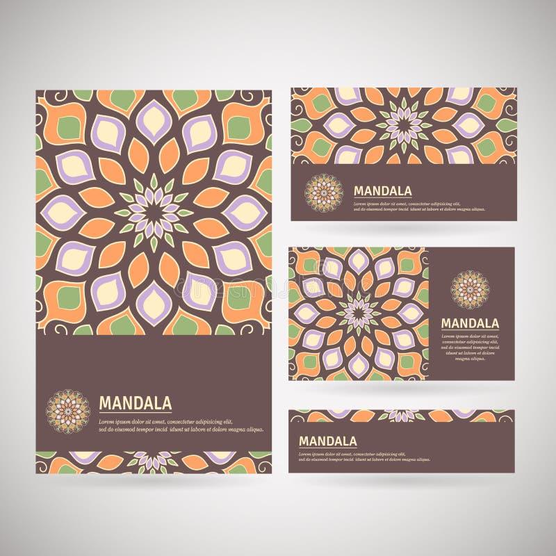 Σύνολο διακοσμητικών επαγγελματικών καρτών με το mandala λουλουδιών σε καφετή, ο διανυσματική απεικόνιση