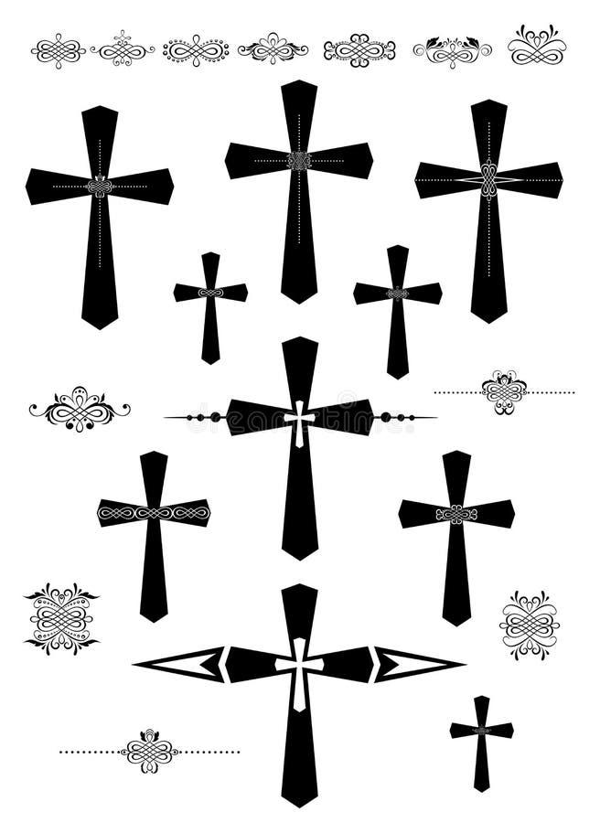 Σύνολο διακοσμητικών καθολικών στοιχείων σταυρών και σχεδίου διανυσματική απεικόνιση