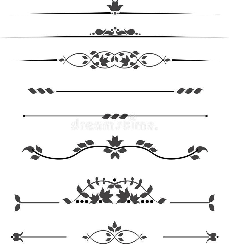 Σύνολο διακοσμητικών μονογραμμάτων για το κείμενο, διαμορφωμένα λωρίδες στοκ φωτογραφία με δικαίωμα ελεύθερης χρήσης