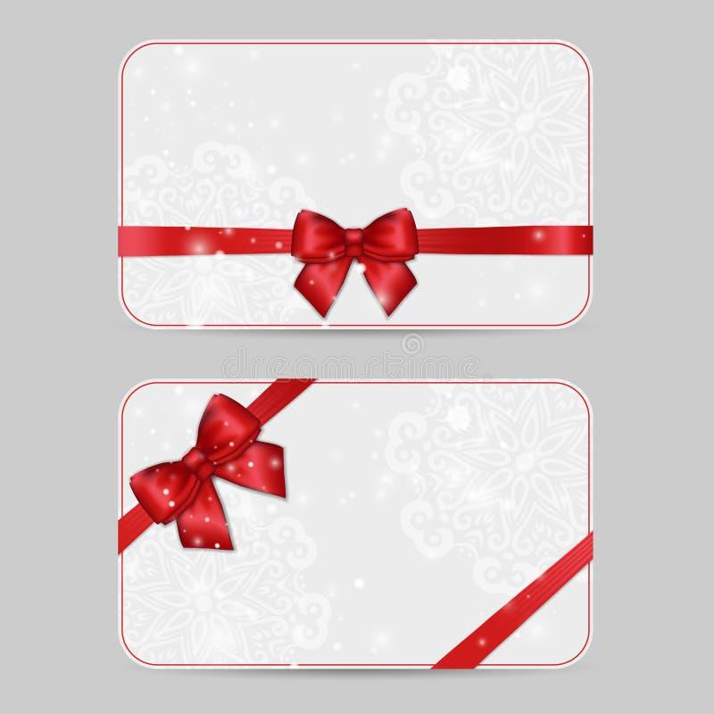 Σύνολο διακοσμητικών προτύπων καρτών με το λαμπρό κόκκινο σατέν ri διακοπών διανυσματική απεικόνιση