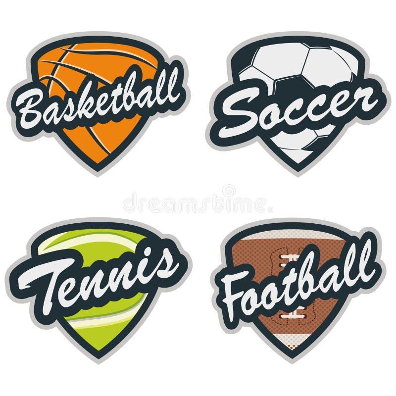 Σύνολο διακριτικών μπέιζ-μπώλ, αντισφαίρισης, ποδοσφαίρου, καλαθοσφαίρισης και ποδοσφαίρου διανυσματική απεικόνιση