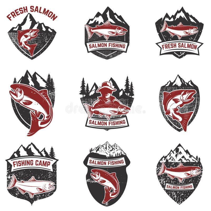Σύνολο διακριτικών grunge με τα ψάρια σολομών Στοιχεία σχεδίου για το λογότυπο, διανυσματική απεικόνιση