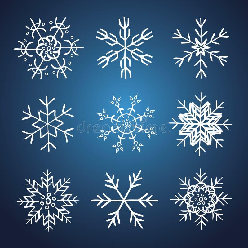 Σύνολο διανυσματικά συρμένα χέρι snowflakes απεικόνιση αποθεμάτων