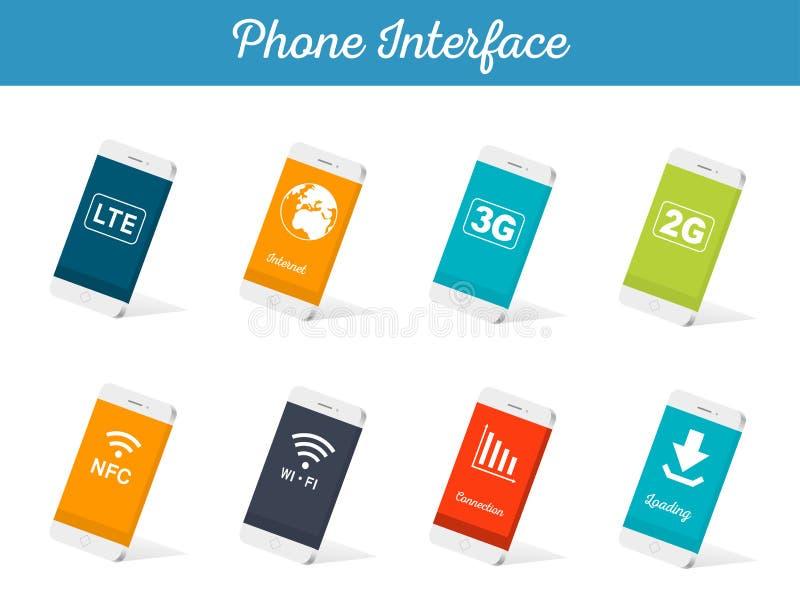 Σύνολο διανυσματικής διεπαφής Smartphone προτύπων απεικόνιση αποθεμάτων