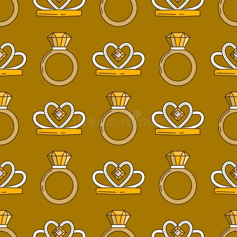 Σύνολο διανυσματικού άνευ ραφής σχεδίου γραμμών κοσμήματος Ζωηρόχρωμη συλλογή πολυτέλειας διαμαντιών Σκιαγραφίες δαχτυλιδιών και  διανυσματική απεικόνιση