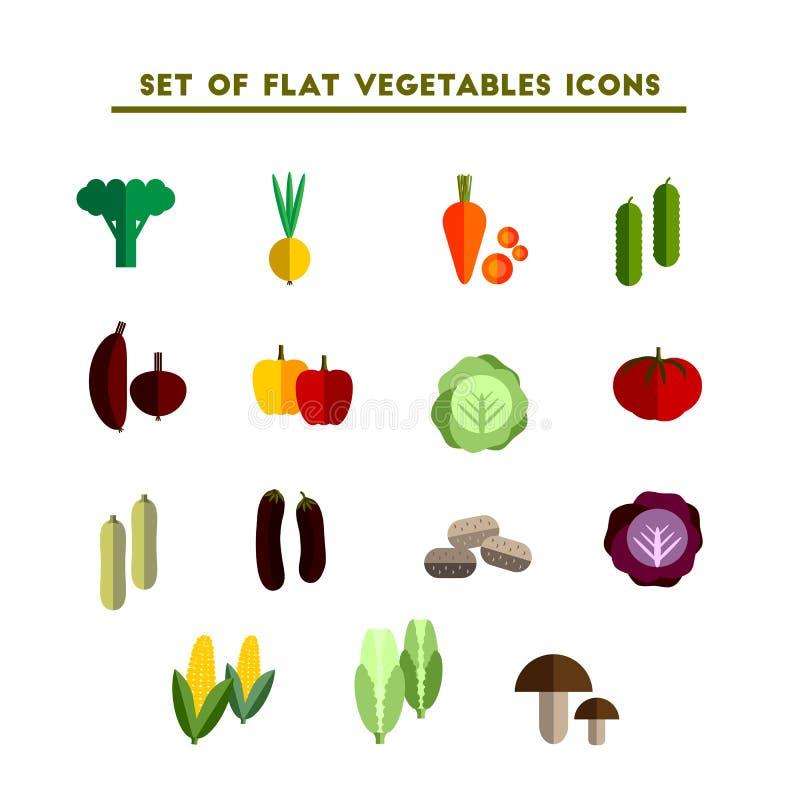 Σύνολο διανυσματικού επίπεδου λαχανικού εικονιδίων χρώματος διανυσματική απεικόνιση