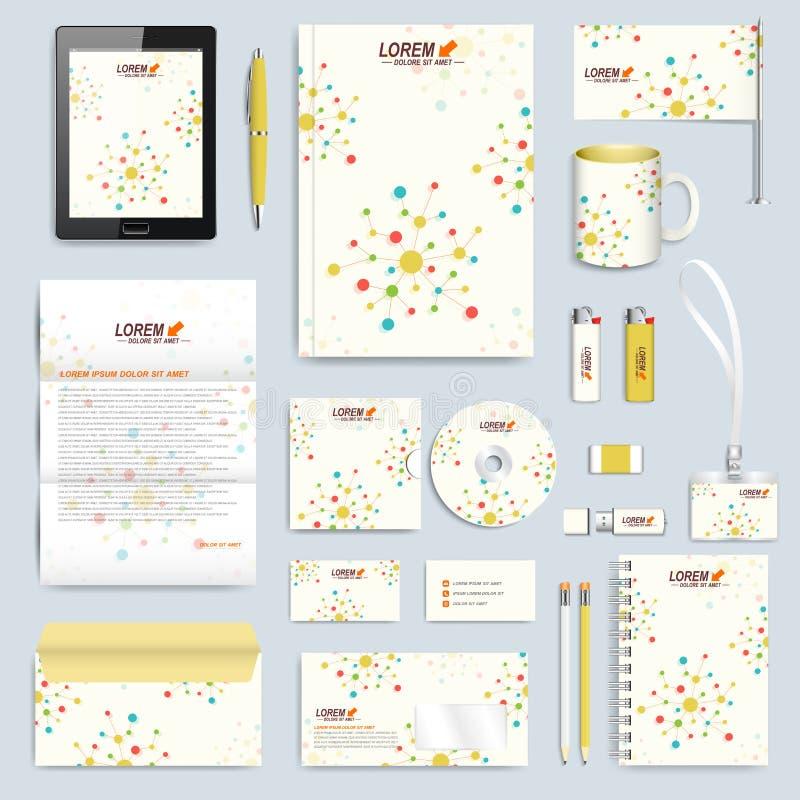 Σύνολο διανυσματικού εταιρικού προτύπου ταυτότητας Σύγχρονο μαρκάροντας πρότυπο χαρτικών Ζωηρόχρωμες μόριο και επικοινωνία διανυσματική απεικόνιση