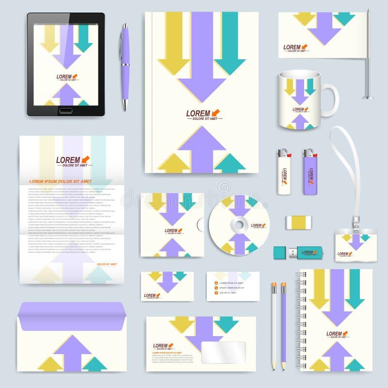 Σύνολο διανυσματικού εταιρικού προτύπου ταυτότητας Σύγχρονο μαρκάροντας πρότυπο χαρτικών Υπόβαθρο με τα ζωηρόχρωμα βέλη Επιχείρησ διανυσματική απεικόνιση
