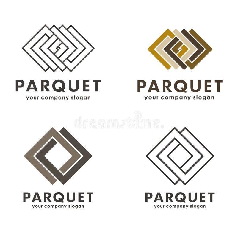 Σύνολο διανυσματικού παρκέ λογότυπων διανυσματική απεικόνιση