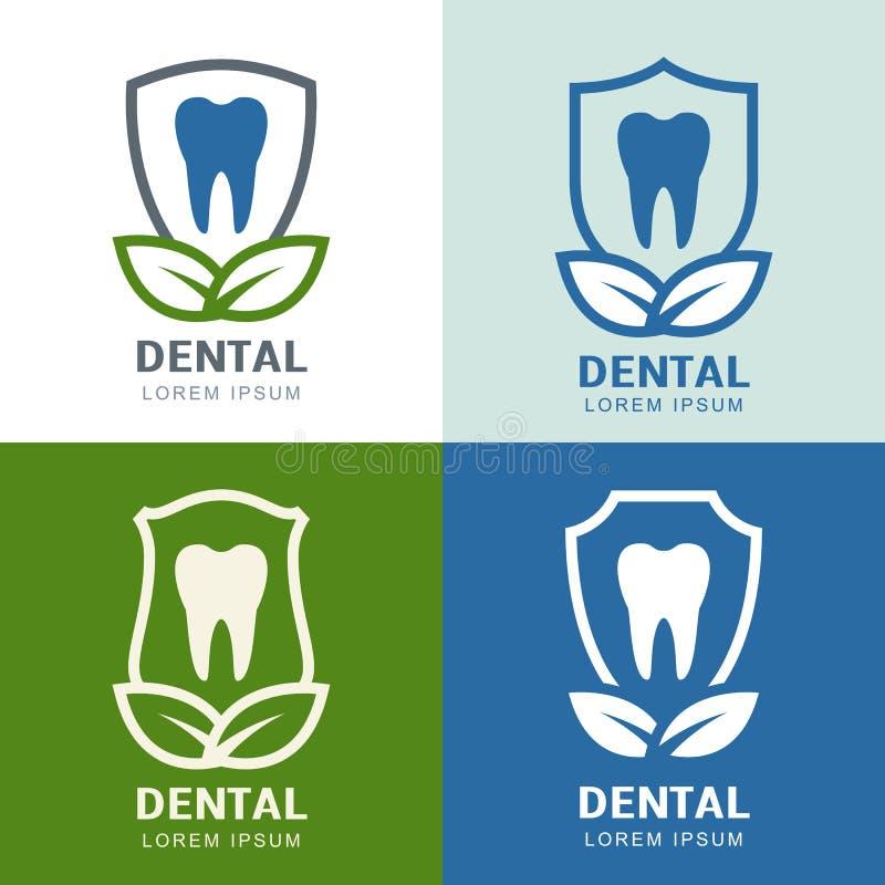 Σύνολο διανυσματικού σχεδίου εικονιδίων λογότυπων Δόντι, ασπίδα και πράσινα φύλλα απεικόνιση αποθεμάτων