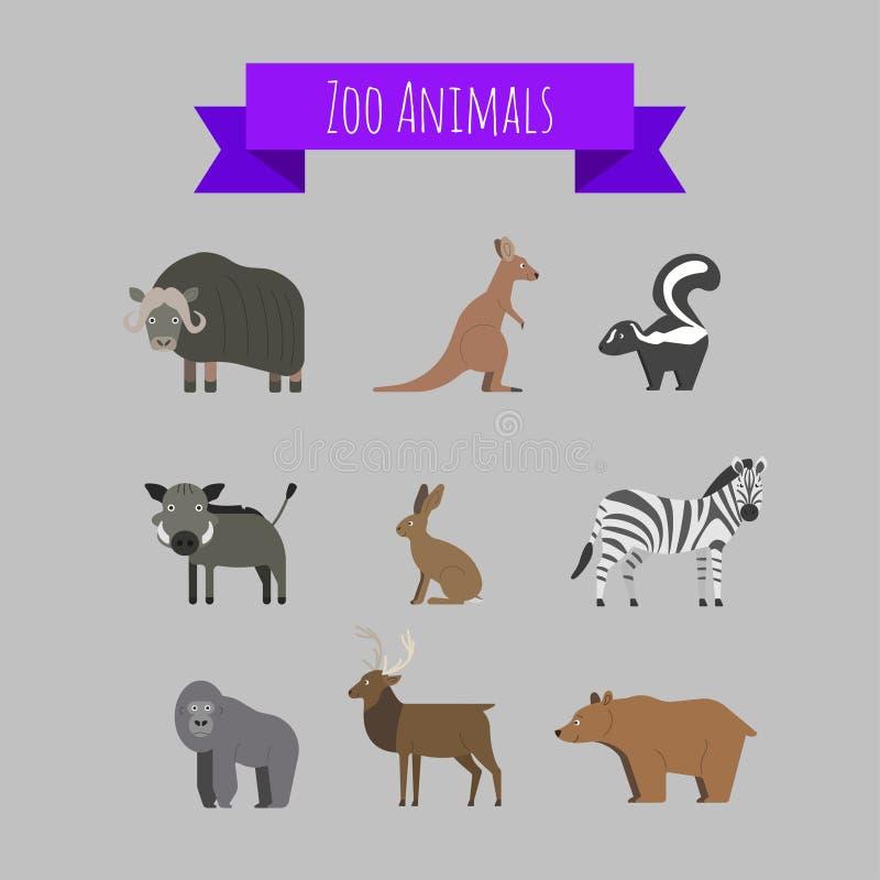 Σύνολο διανυσματικών άγριων ζώων ζωολογικών κήπων ελεύθερη απεικόνιση δικαιώματος