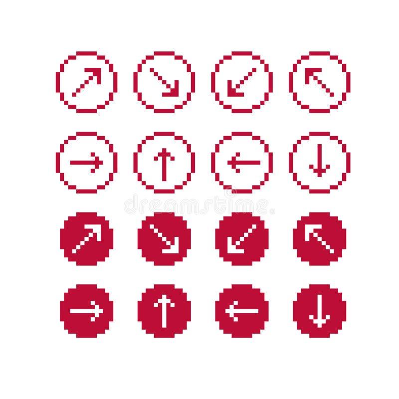 Σύνολο διανυσματικών αναδρομικών σημαδιών δρομέων που γίνονται στο ύφος τέχνης εικονοκυττάρου Simpli απεικόνιση αποθεμάτων