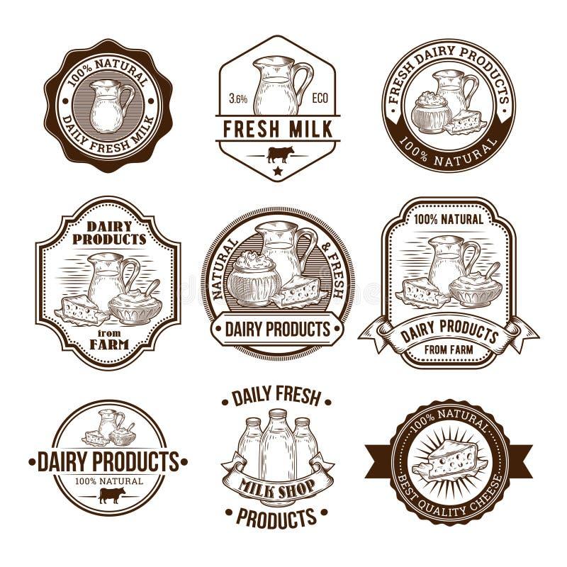 Σύνολο διανυσματικών απεικονίσεων, διακριτικών, αυτοκόλλητων ετικεττών, ετικετών, γραμματοσήμων για το γάλα και γαλακτοκομικών πρ απεικόνιση αποθεμάτων