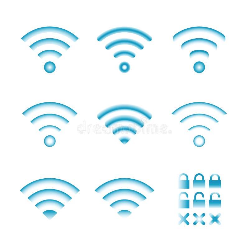 Σύνολο διανυσματικών ασύρματων εικονιδίων για την πρόσβαση και τη ραδιοεπικοινωνία τηλεχειρισμού wifi διανυσματική απεικόνιση