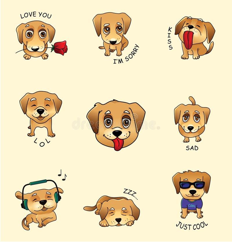 Σύνολο διανυσματικών αυτοκόλλητων ετικεττών, emojis με το χαριτωμένο σκυλί διανυσματική απεικόνιση