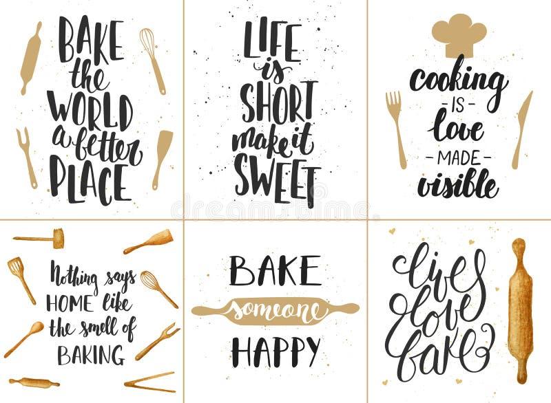 Σύνολο διανυσματικών γράφοντας αφισών αρτοποιείων, ευχετήριες κάρτες ελεύθερη απεικόνιση δικαιώματος
