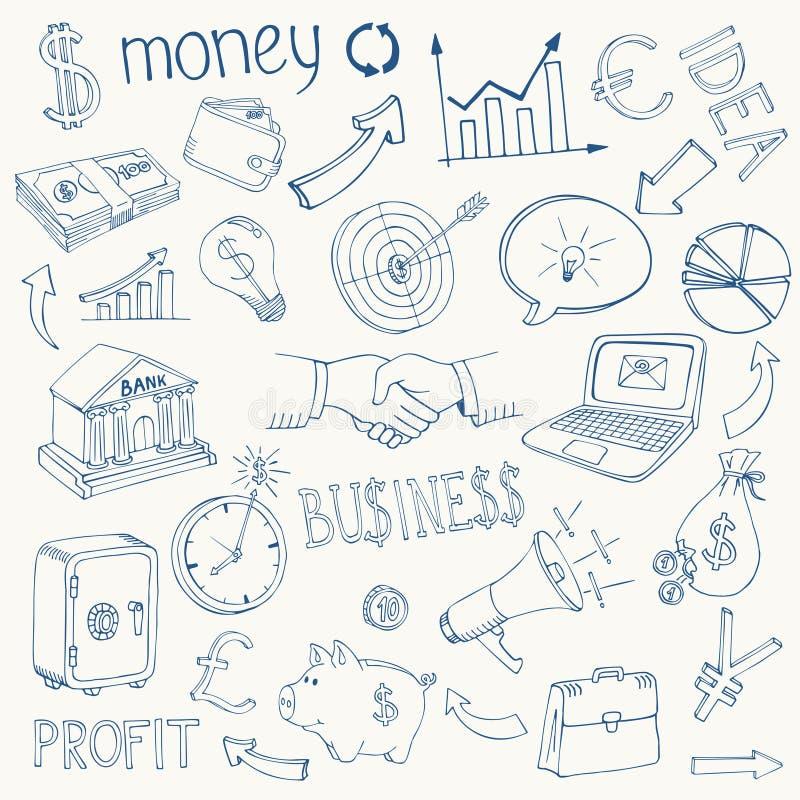 Σύνολο διανυσματικών εικονιδίων επιχειρήσεων και χρημάτων ελεύθερη απεικόνιση δικαιώματος