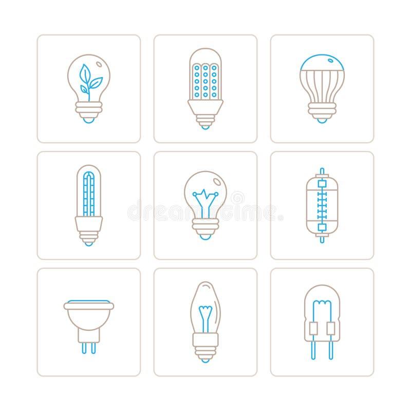 Σύνολο διανυσματικών εικονιδίων και εννοιών λαμπών φωτός στο μονο λεπτό ύφος γραμμών ελεύθερη απεικόνιση δικαιώματος