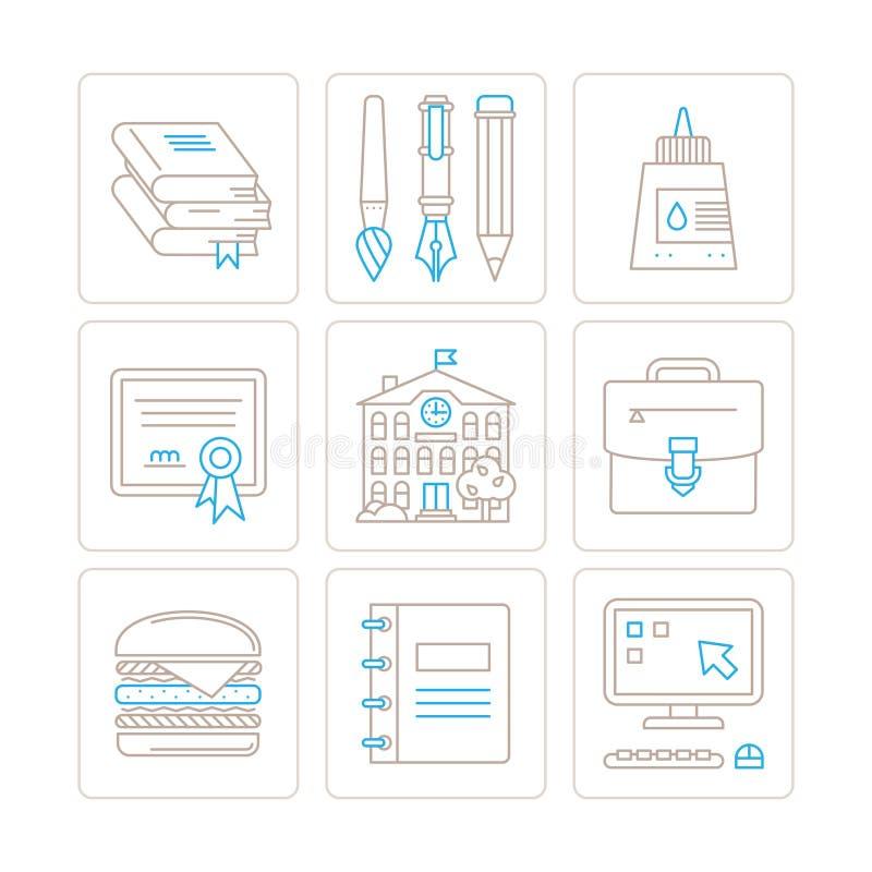 Σύνολο διανυσματικών εικονιδίων και εννοιών εκπαίδευσης στο μονο λεπτό ύφος γραμμών διανυσματική απεικόνιση