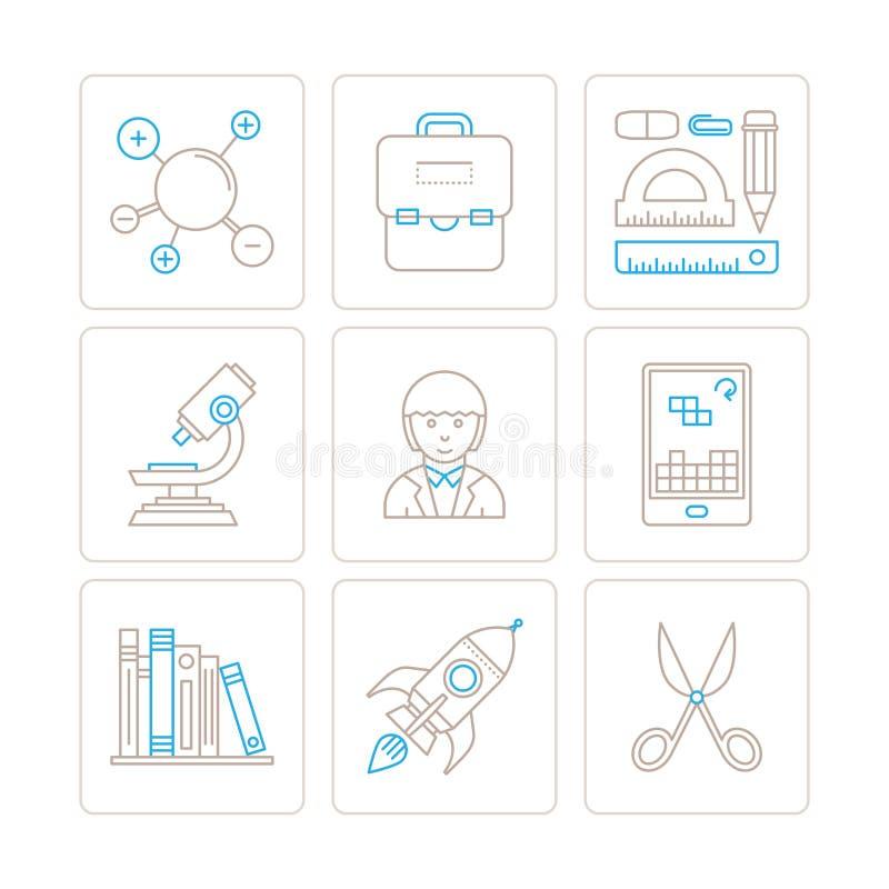 Σύνολο διανυσματικών εικονιδίων και εννοιών εκπαίδευσης στο μονο λεπτό ύφος γραμμών ελεύθερη απεικόνιση δικαιώματος