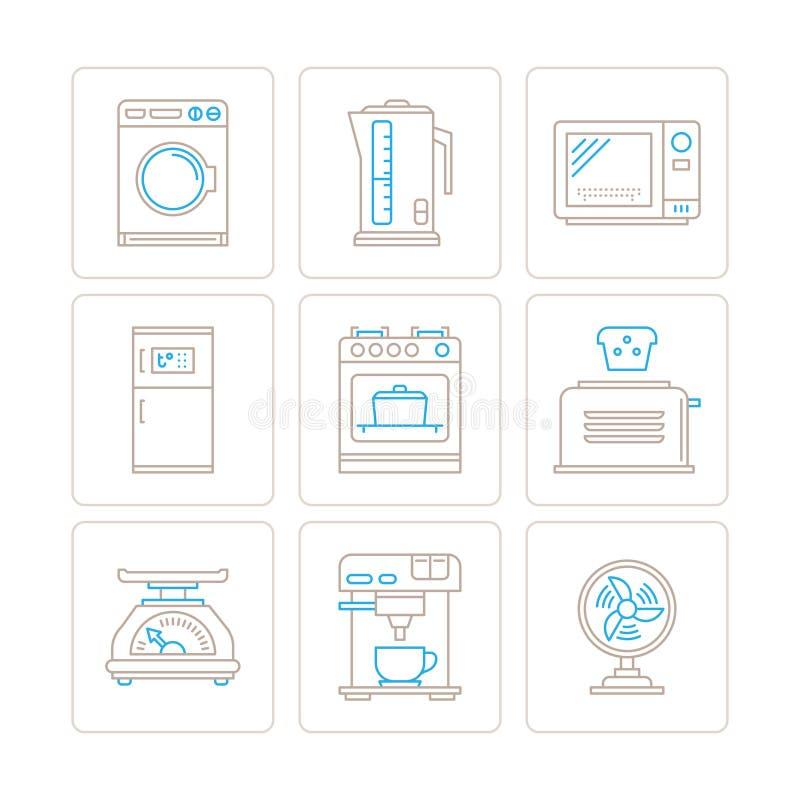 Σύνολο διανυσματικών εικονιδίων και εννοιών οικιακών συσκευών στο μονο λεπτό ύφος γραμμών απεικόνιση αποθεμάτων